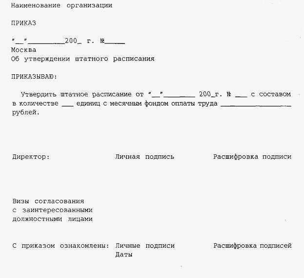 образец докладной записки об изменении штатного расписания