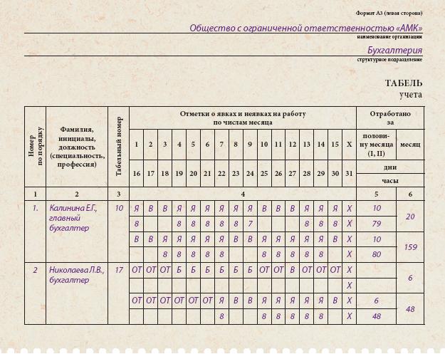 как отмечать командировку в табеле образец - фото 10