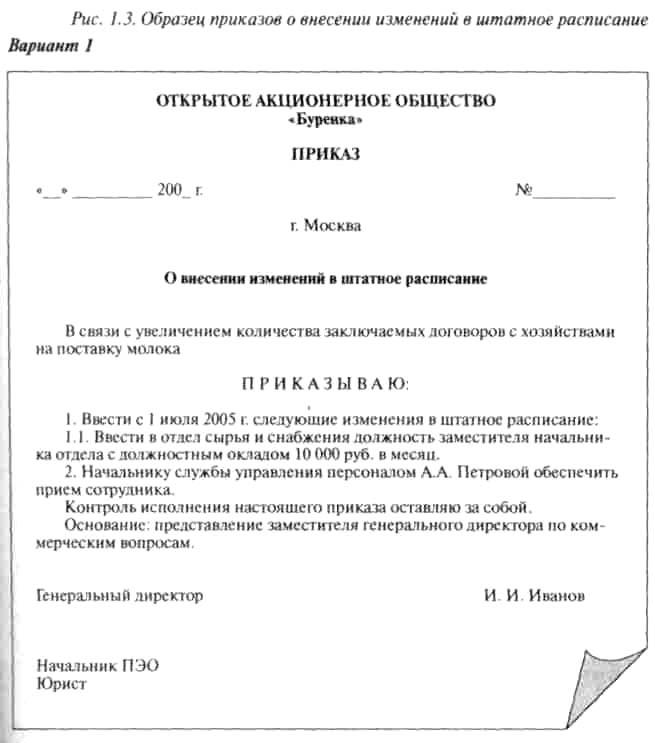 приказ вывести из штатного расписания должность образец - фото 3