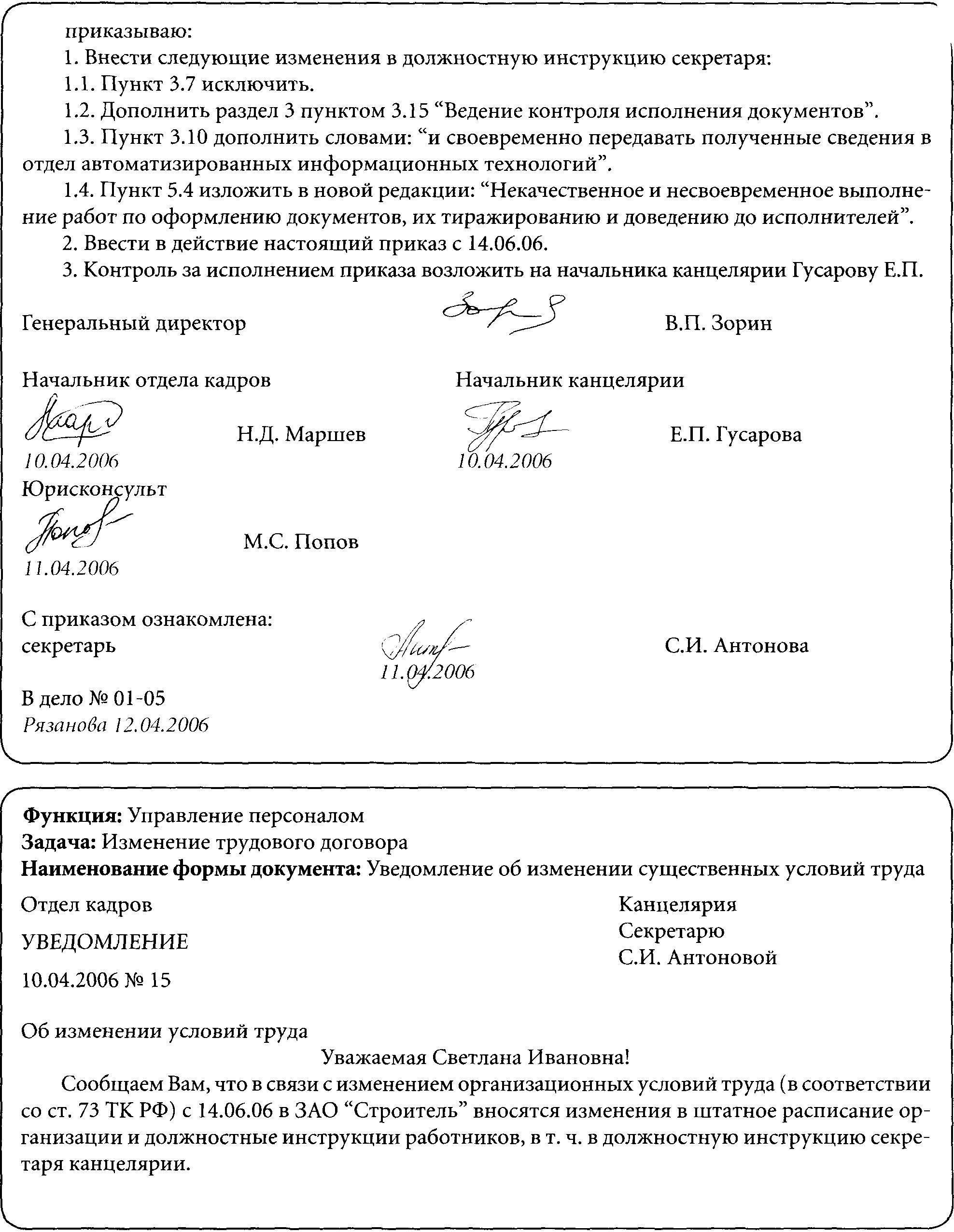 образец приказа на изменение должностной инструкции