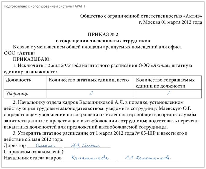 приказ о проведении мероприятий по сокращению штата образец - фото 11